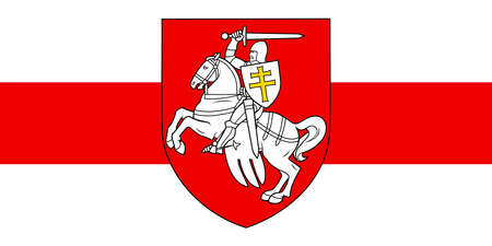 Vector illustration The Pahonia against the background of the white-red-white flag. Historical coat of arms of Belarus and the Grand Duchy of Lithuania. The symbol of freedom Belarus
