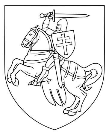 Vector linear illustration The Pahonia, horse rider, historical coat of arms of Belarus and the Grand Duchy of Lithuania. The symbol of freedom Belarus. Symbol of the opposition forces of Belarus