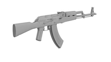 3D render AK-47 assault rifle isolated on white background. Classic Soviet AK machine gun