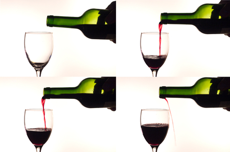 sheds: Pouring red wine into a glass. Sheds past the cup. Collage. White background