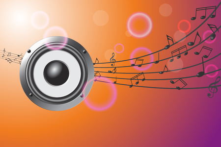 Speaker on abstract musical background.