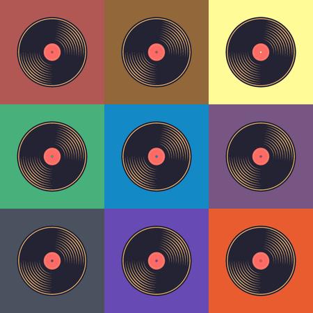 Vinylverslagen met kleurrijke etiketten op kleurrijke achtergrond.