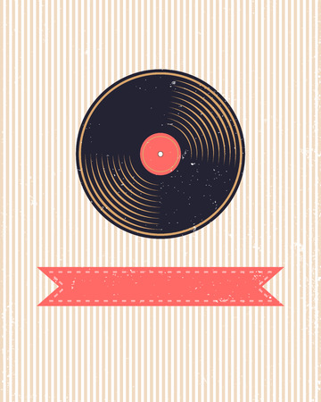 Old background with vinyl record - vector illustration