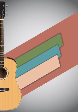 Abstract grunge music background with acoustic guitar. Vector illustration concept design. Illustration