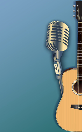 Music grunge background with retro microphone and guitar