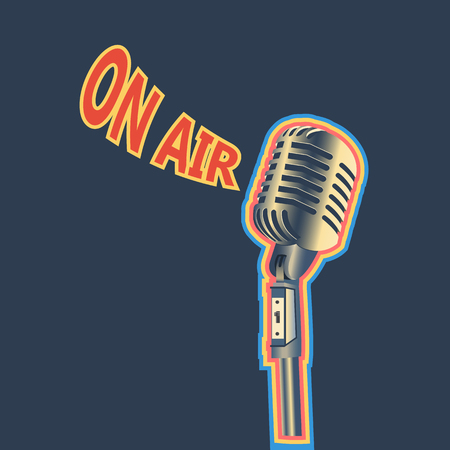 Retro Microphone On Air Background Poster