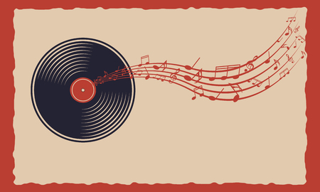 music: Vinyl with departing notes. Sound musical technology. Banner