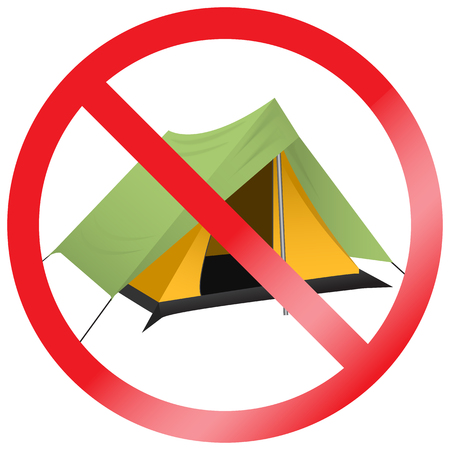 Sign no camping. Tourist tent icon. Forbidden symbol. Prohibition image of no camp allowed.