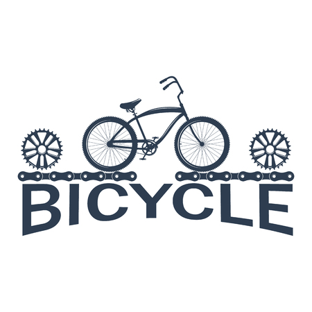 Bicycle label design and logo. Shop and service. Illustration