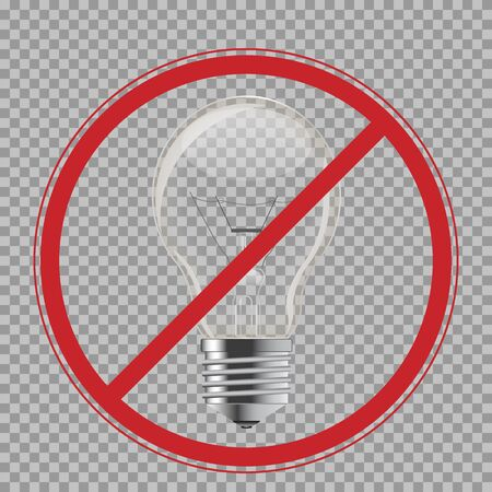 Light bulb. Realistic style lamp. No, Ban or Stop signs. Vector isolated