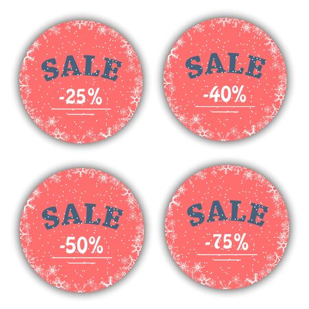 Winter sale. Set for Season Store Promotions with Labels in Circle Shape.