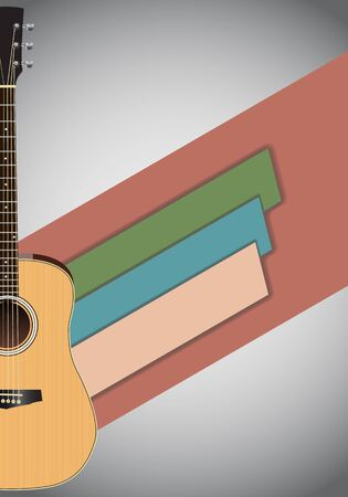 Concert show poster with acoustic guitar vector illustration.