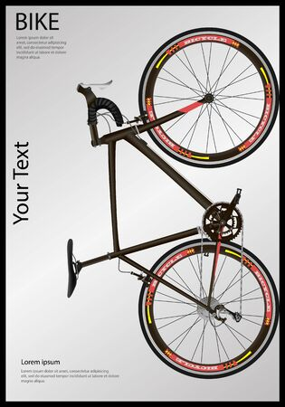 Bicycle poster. Race road bike. Realistic Illustration