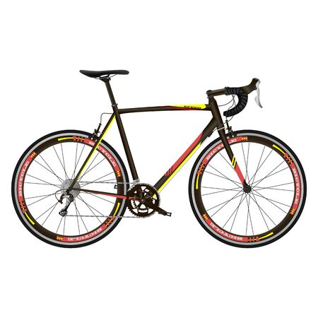 Race road bike isolated bicycle on white. Realistic