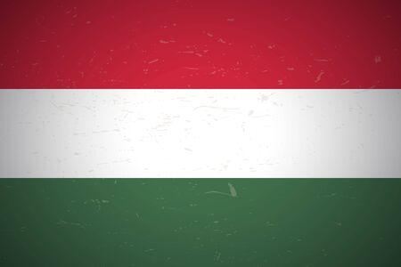 Flag of Hungary. Vector illustration. Grunge background Illusztráció
