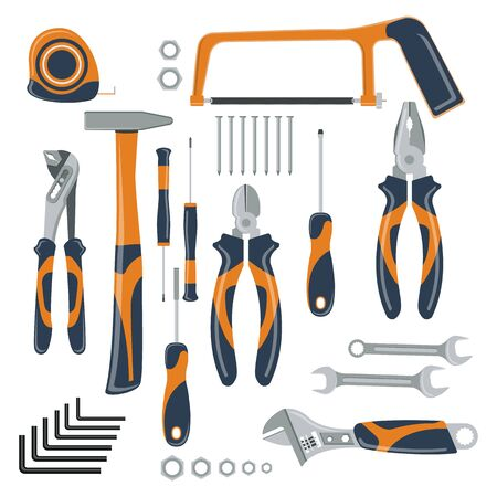 Set of tools for repair and construction. Concept image of work wear. Ilustracja