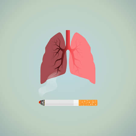 Nicotine addiction harmful. Lungs with cigarette turning
