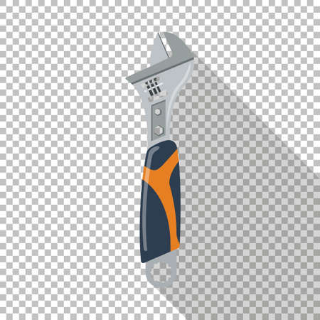 Adjustable wrench icon with long shadow. Chess transparent background. Ilustración de vector