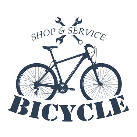 Bicycle label design and logo. Shop and service. 矢量图像