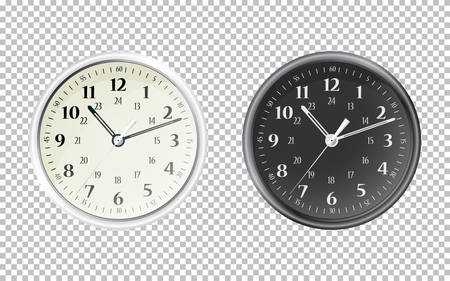White and black wall office clock icon set. The electronic device