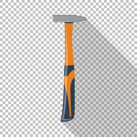 Hammer icon with long shadow. Chess transparent background.