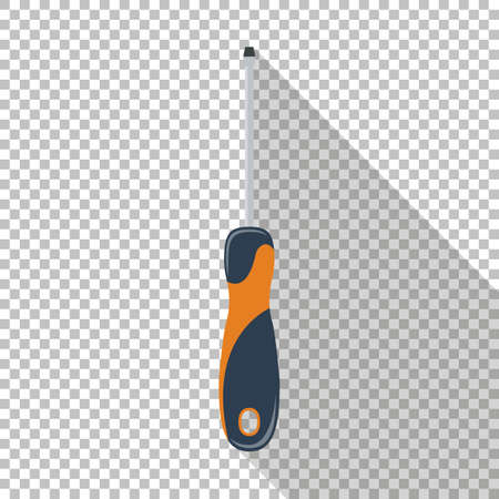 Screwdriver icon with long shadow. Chess transparent background.