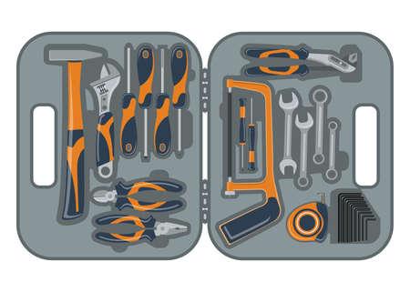 Set building tools repair. Tool box. Skrewdriver, hammer, handsaw and wrench 矢量图像