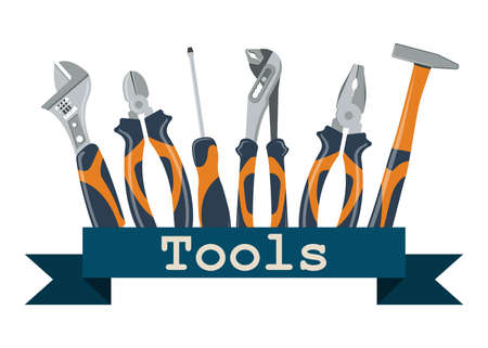 Set of tools for repair and construction. Concept image of work wear. 矢量图像