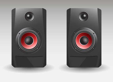 Audio loud speaker with red diffuser. Concert speaker 矢量图像