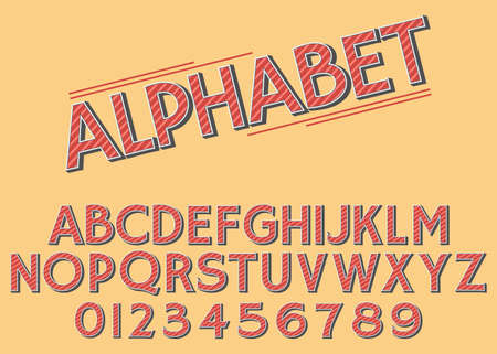 Vector of retro slanted font and alphabet