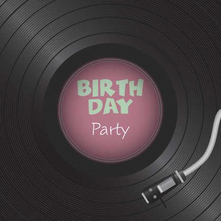 Retro vinyl disk. Gramophone Vinyl record. Birthday card