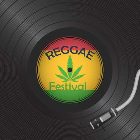 Retro vinyl disk. Gramophone Vinyl record. Reggae card 矢量图像