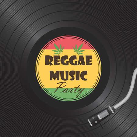 Retro vinyl disk. Gramophone Vinyl record. Reggae card