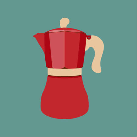 Coffee maker icon. Italian. Flat design vector illustration