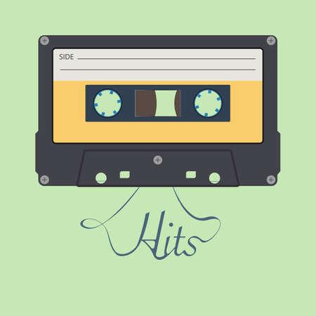 "Audio cassette tape. ""Hits"" inspirational lettering. Old vintage audio cassette"