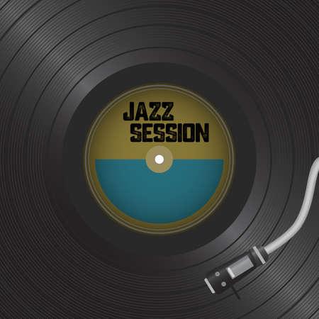 Retro vinyl disk. Gramophone Vinyl record. Jazz card 矢量图像