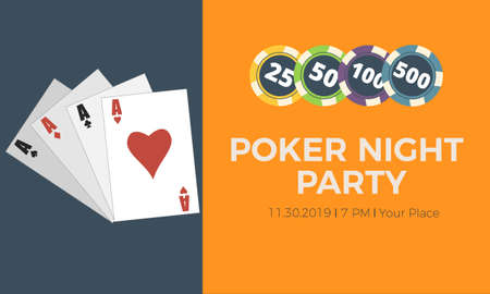Casino party invitation. Casino poster or banner background or flyer template. Poker night party 矢量图像