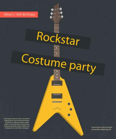 Rockstar costume party poster. Vintage Styled 矢量图像
