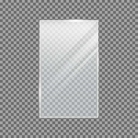 Transparent vector glass shape. Light effect for a picture or a mirror. Rectangle. Glass plate