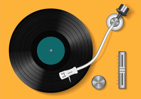 Vinyl record. Vintage record player and retro vinyl disc. Realistic