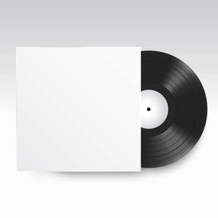 Realistic Vinyl Record with Cover Mockup. Front view