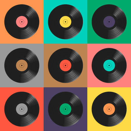 Vinyl records. Colorful background. Seamless pattern. Vecteurs