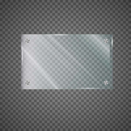 Glass plate on transparent background. Glossy, shine, light, clear. Realistic transparent glass