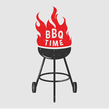 Black BBQ Grill with red fire on white background. Grill party 矢量图像