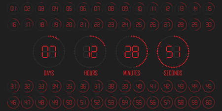 Digital countdown timer scoreboard of days hours minutes seconds. Red time 矢量图像