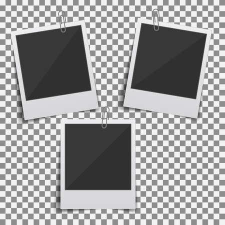 Set of vintage photo frame. Transparent background. Realistic detailed photo icon 矢量图像