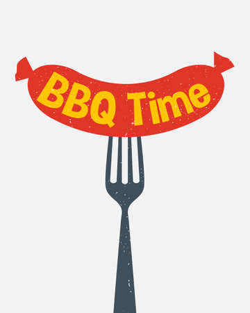 Sausage on a fork flat style design. Fast food concept. BBQ