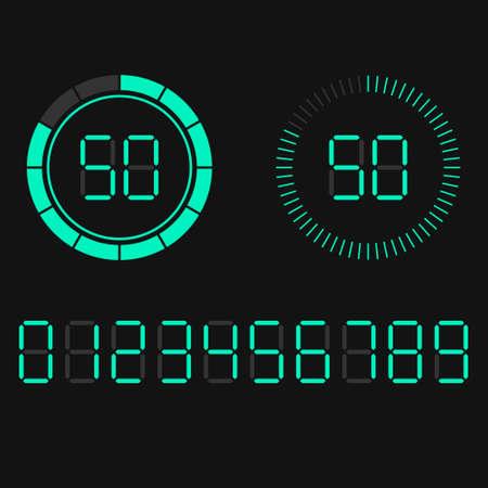 Digital countdown timer scoreboard of hours minutes seconds 矢量图像