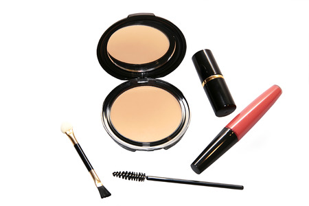 accessories for makeup isolated on white background