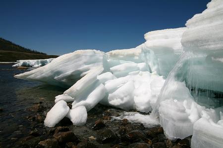 melting glacier.Focus at ice
